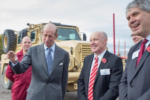 (left to right) Geoff Hill, Pearson Engineering, His Royal Highness the Duke of Kent, John Reece, Chairman of The Reece Group and Randall Flack, Technical Director, Pearson Engineering