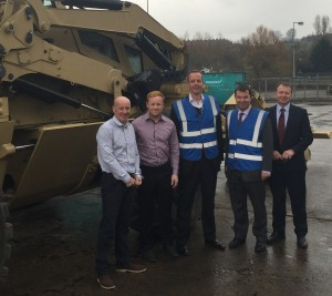(left to right) John Reece, Chairman of Reece Group, Ali Reece, Project Manager of Responsive Engineering, Nick Boles MP, Guy Opperman MP, Phil Kite, CEO of Reece Group beside a Pearson Engineering PEROCC