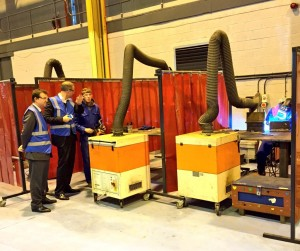 (left to right) Guy Opperman MP, Nick Boles MP and Ryan Kennedy, apprentice at Responsive Engineering