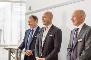 Unveiling of the plaque to officially open the site – Phil Kite, CEO Reece Group, Alan Shearer, John Reece, Chairman Reece Group