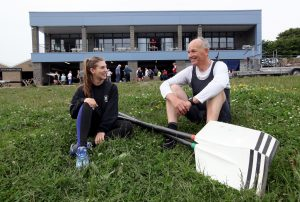 The new £1m Tyne Amateur Rowing Club boathouse on the bank of the Tyne at Newburn, Ian Boyd, honorary vice president of Tyne Amateur Rowing Club chats to junior member Olivia Capocci 17 (pic Dave Charlton)